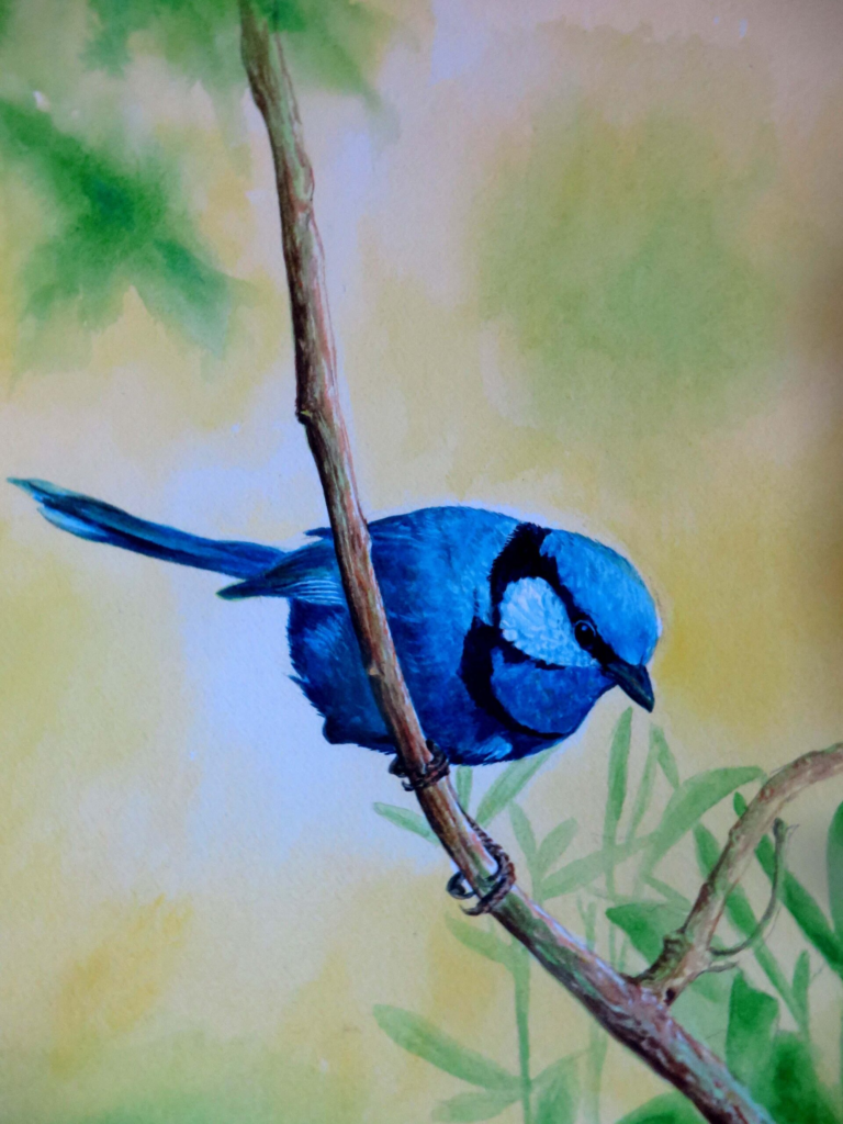 A picture of a bluebird perched on a branch, titled 'Beautiful Day.'
