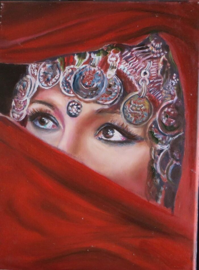 A gorgeous painting titled 'Purda' of a woman's eyes glancing into the distance.