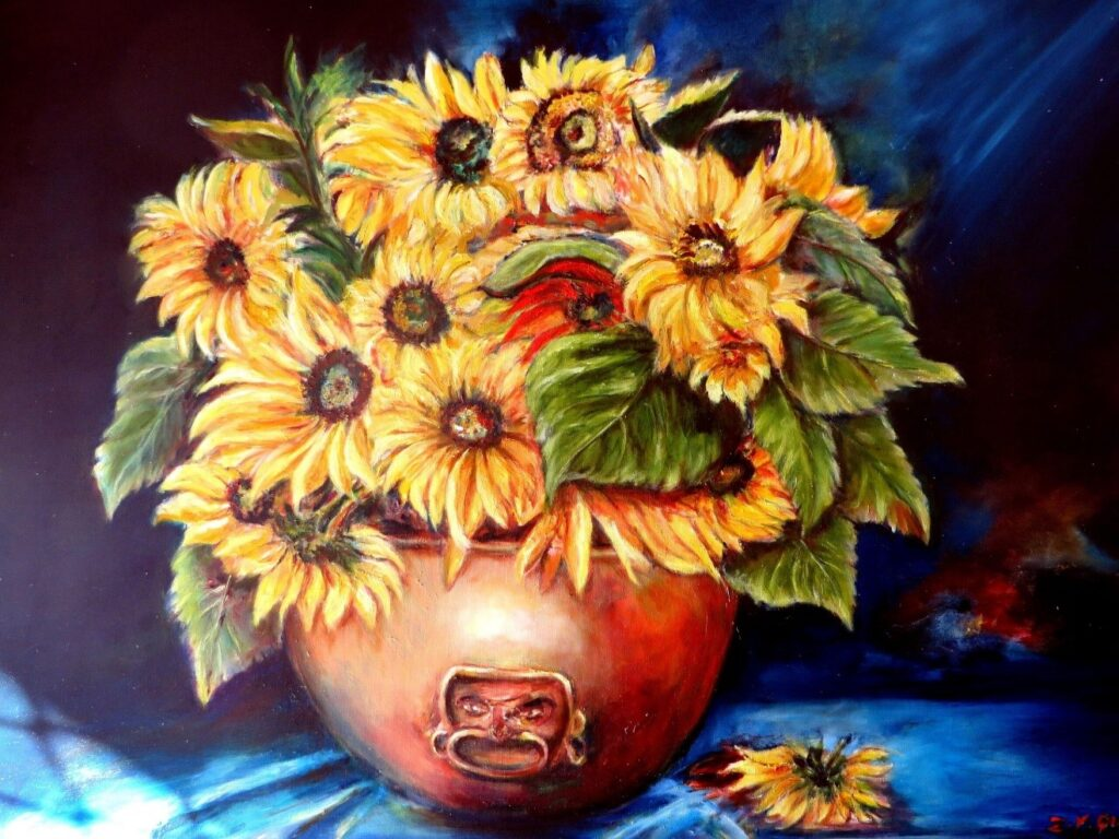 Rightfully titled 'Pot of Gold', this painting shows sunflowers in a pot.