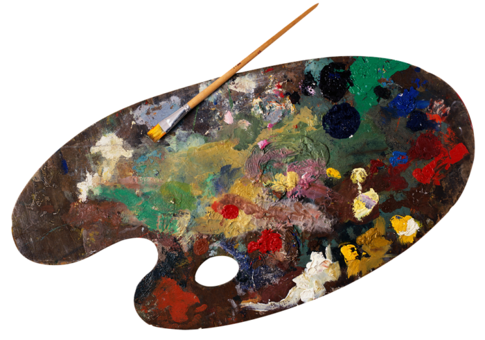 A palette with different paints
