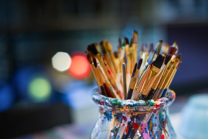 Paintbrushes inside a container