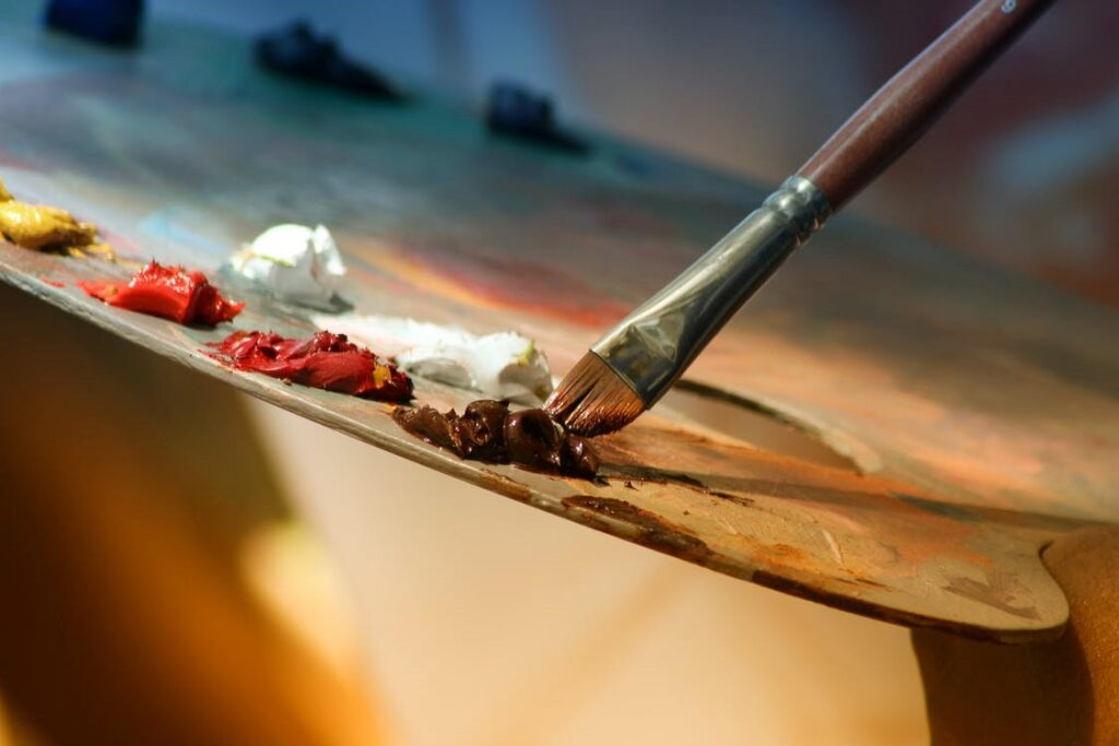 A paintbrush and palette