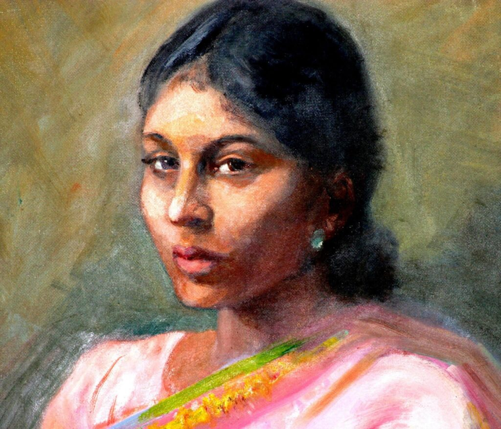 Portrait of a woman painted by Zareena Qureshi